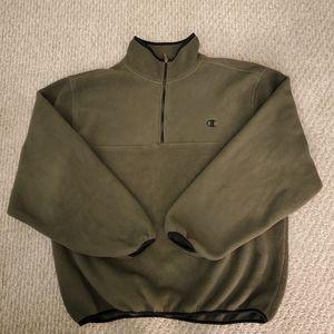 Mens Vtg Champion Fleece Zip PO Olive Jacket